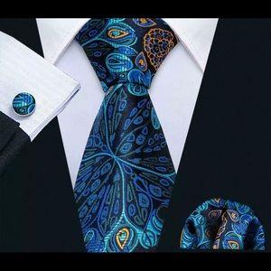 Men's Silk Coordinated Tie Set, Peacock Blue
